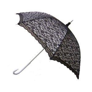 Kanten paraplu zwart-wit